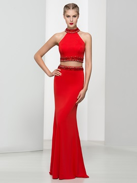 High Neck Beading Sheath Red Two Piece Prom Dress & Prom Dresses on sale