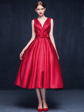 Casual V-Neck Bowknot Backless Tea-Length Prom Dress & elegant Prom Dresses