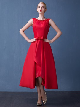 Fancy Straps A-Line Beading Bowknot Red Tea-Length Prom Dress & Prom Dresses for less