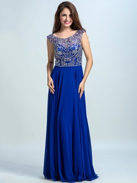 Scoop Neck Beading A-Line Chiffon Prom Dress & Prom Dresses for sale