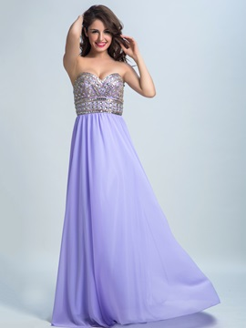Chiffon A-Line Sweetheart Beading Long Prom Dress & fairy Prom Dresses