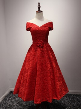 Off the Shoulder Tea-Length Red Lace Prom Dress & inexpensive Prom Dresses