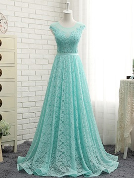 Fancy Sheer Neck Cap Sleeves Lace Prom Dress & Prom Dresses under 300