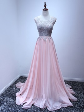 A-Line Straps Appliques Pink Prom Dress & formal Prom Dresses