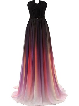 Strapless Pleats Fading Color Prom Dress