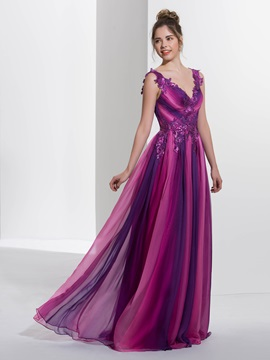 Contrast Color Sequins Appliques Pleats Long Prom Dress & unique Prom Dresses