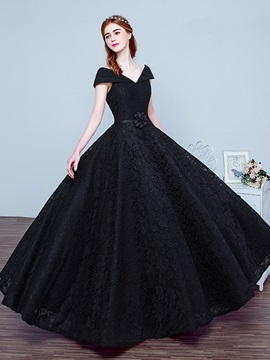 Vintage V-Neck Cap Sleeve Bowknot Lace Evening Dress & vintage style Prom Dresses