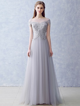 Bateau Neck Appliques Pearls Short Sleeves Long Prom Dress & Prom Dresses from china