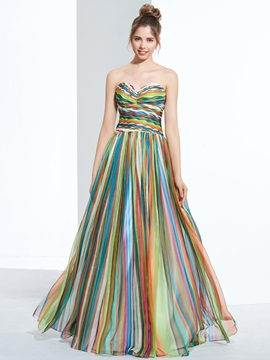 Contrast Color Sweetheart Pleats Print Prom Dress & cheap Prom Dresses