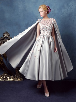 Flowers Pearls Tea-Length Prom Dress & vintage style Prom Dresses
