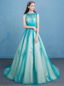 Dramatic Bateau Neck Beading Sash Prom Dress & Prom Dresses for sale