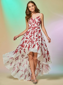 Graceful A-Line Appliques Scoop Sleeveless Asymmetry Prom Dress