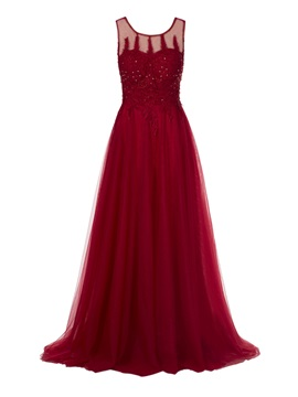 Vintage A-Line Scoop Lace Ankle-Length Evening Dress