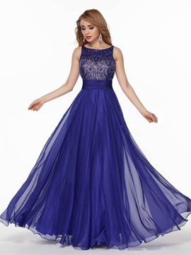 Gorgeous A-Line Bateau Beading Crystal Floor-Length Prom Dress & Prom Dresses under 500