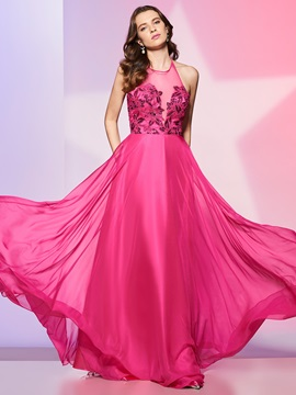 Halter A-Line Sequins Long Prom Dress
