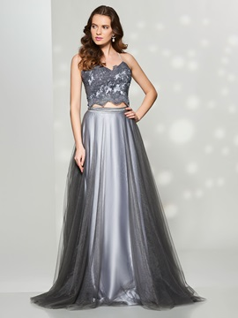 Stylish A-Line Spaghetti Straps Appliques Button Floor-Length Prom Dress & Prom Dresses under 500