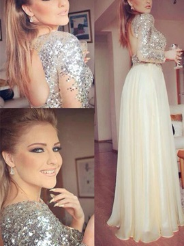 Gorgeous A-Line Jewel Long Sleeves Sequins Floor-Length Prom Dress & discount Prom Dresses