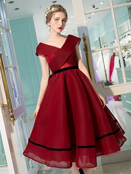 Unique A-Line V-Neck Cap Sleeves Bowknot Pick-Ups Tea-length Prom Dress & Prom Dresses online