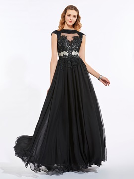 Bateau A-Line Cap Sleeves Appliques Zipper-Up Prom Dress