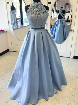 Stylish Two Pieces Appliques A-Line Beaded High Neck Floor-Length Prom Dress & informal Prom Dresses