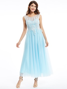 Scoop Neck -Up Appliques A-Line Evening Dress & elegant Prom Dresses
