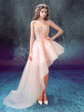 Nice A-Line Asymmetry Appliques Beading Lace Sweetheart Prom Dress