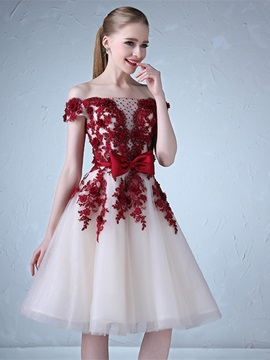 Pretty A-Line Appliques Off-the-Shoulder Beading Bowknot Sashes Knee-Length Prom Dress