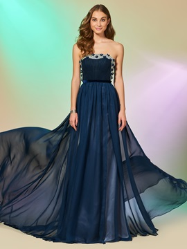 A-Line Strapless Beading Ruched Floor-Length Prom Dress