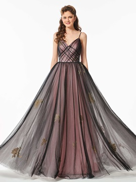 Elegant Spaghetti Straps Appliques Pleats Floor-Length Prom Dress