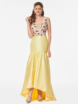 Pretty V-Neck Appliques Flowers Trumpet Asymmetry Prom Dress