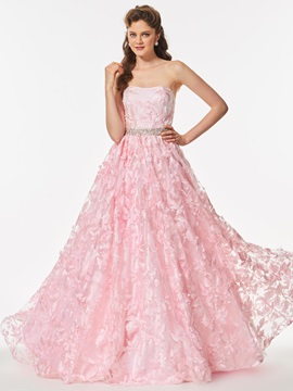 Nice Lace Strapless A-Line Beading Floor-Length Prom Dress & attractive Prom Dresses