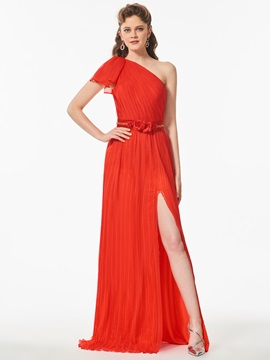 One-Shoulder Beaded Split-Front Prom Dress