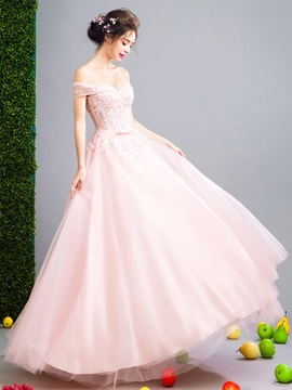 Charming Ball Gown Off-the-Shoulder Appliques Sequins Sashes Bowknot Prom Dress