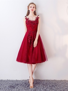 Nice Bateau A-Line Appliques Beaded Lace Tea-Length Prom Dress