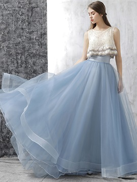 Unique A-Line Flowers Lace Pearls Pleats Scoop Court Train Prom Dress