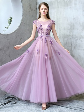 Sweet A-Line Appliques Cap Sleeves Sashes Flowers Floor-Length Prom Dress