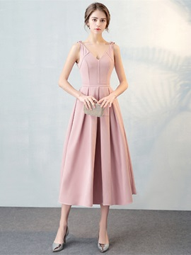 Simple A-Line V-Neck Pleats Tea-Length Prom Dress & Prom Dresses from china