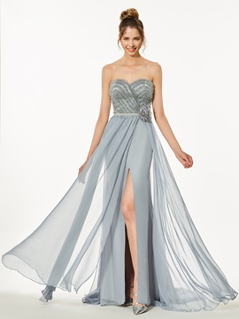 A-Line Sweetheart Flowers Split-Front Prom Dress
