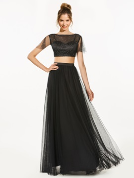 A-Line Two Pieces Bateau Sequins Prom Dress