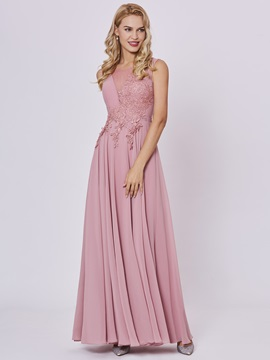 Scoop Neck Lace-Up Appliques A Line Prom Dress