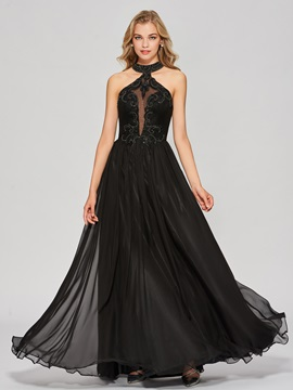 A-Line Appliques Beading Jewel Prom Dress