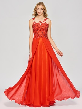 Exquisite A-Line Appliques Beading Button Bateau Floor-Length Prom Dress