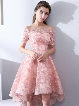 A-Line Off-the-Shoulder Lace Homecoming Dress & casual Prom Dresses