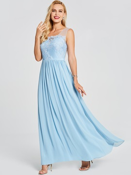 Pretty V Neck Backless Lace A Line Prom Dress