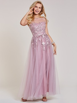 Scoop Neck Appliques A Line Prom Dress