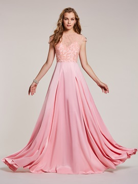 Pretty A-Line Scoop Cap Sleeves Empire Beading Prom Dress