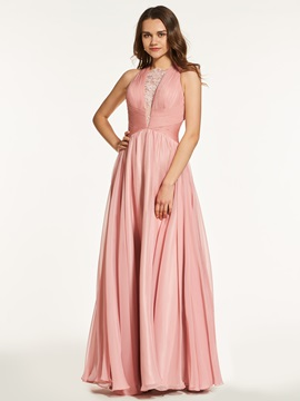 Jewel A-Line Lace Criss-Cross Straps Long Prom Dress