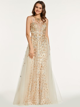 Beading Button Floor-Length Halter Prom Dress