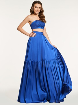 Simple A-Line Strapless Sleeveless Long Prom Dress
