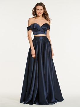 Two Pieces A-Line Off-the-Shoulder Long Prom Dress & Prom Dresses under 100